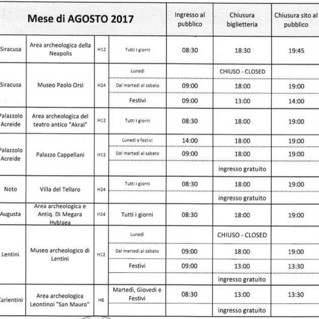 Siracusa orari di apertura dei monumenti agosto 2017 for Orari apertura negozi trento