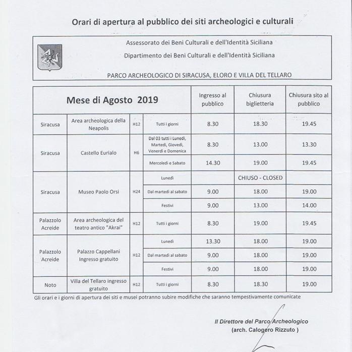 Parco archeologico di siracusa orari agosto 2019 for Orari apertura negozi trento