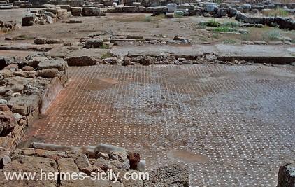 Megara Iblea, pavimento in cocciopesto delle terme ellenistiche