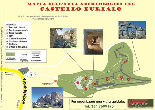 Mappa del Castello Eurialo presso Siracusa