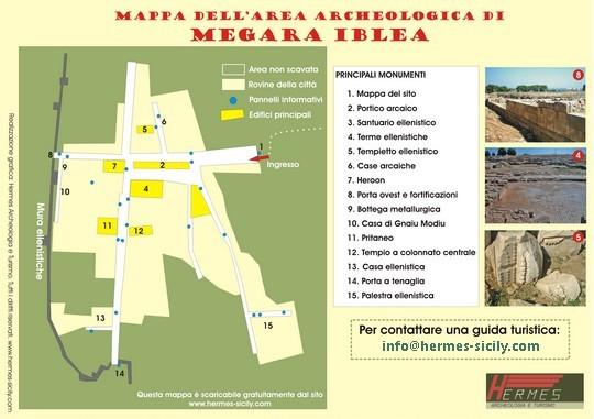 Mappa dell'area archeologica di Megara Iblea vicino Augusta (SR)