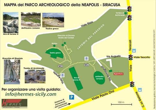 Mappa del parco archeologico della Neapolis a Siracusa