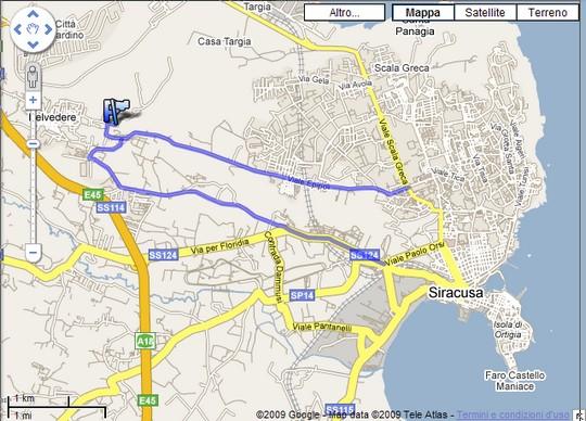 Itinerario stradale per il Castello Eurialo