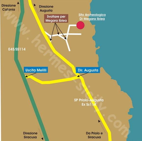 Mappa stradale per Megara Iblea